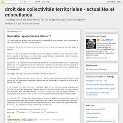 droit des collectivités territoriales - actualités et miscellanea: Open data : quelle licence choisir ?