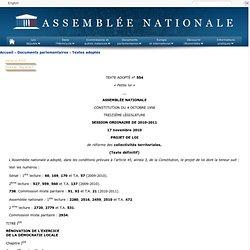 Texte adopté n°554 - Projet de loi, adopté, dans les conditions prévues à l'article 45, alinéa 3, de la Constitution, par l'Assemblée nationale, de réforme des collectivités territoriales