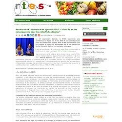 """Retours de la conférence en ligne du RTES """"La loi ESS et ses conséquences pour les collectivités locales"""""""