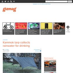 Kammok tarp collects rainwater for drinking