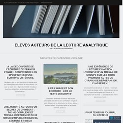 ELEVES ACTEURS DE LA LECTURE ANALYTIQUE