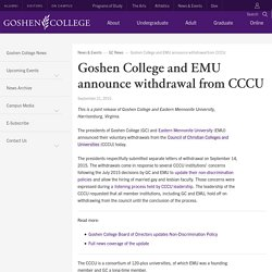 Goshen College and EMU announce withdrawal from CCCU