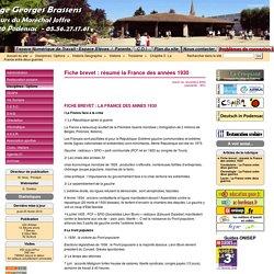 Fiche brevet : résumé la France des années 1930 - Site du Collège Georges Brassens Podensac