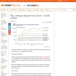 Yes, college degree has value -- try $1 million