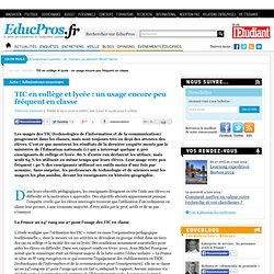 TIC en collège et lycée : un usage encore peu fréquent en classe