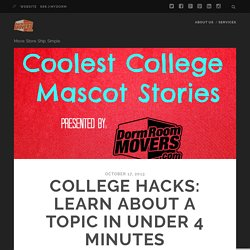 College Hacks: Learn About A Topic In Under 4 minutes – Dorm Room Movers Blog