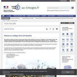 Poésie au collège Anna de Noailles - ac-limoges.fr