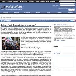 """Collège : Pour le Snes, opération """"grain de sable"""""""