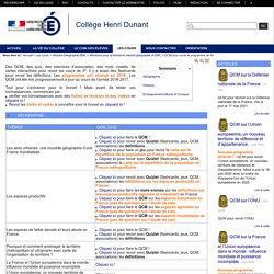 """Collège Henri Dunant - QCM pour revoir le programme de 3<sup class=""""typo_exposants"""">e</sup>"""