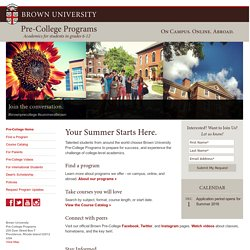 Pre-College Programs at Brown University