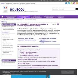 Actualités - Le collège 2016 : questions/réponses