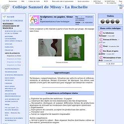 Collège Samuel de Missy - La Rochelle - Sculptures en papier, 6ème A