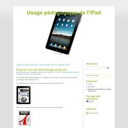 Prise en main de l'iPad collège de Sèvres - Usage pédagogique de l'iPad
