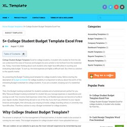 5+ College Student Budget Template Excel Free - XL Template