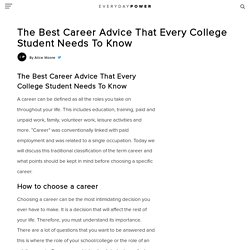 The Best Career Advice For College Students