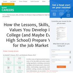 College Lessons Prepare Students for Success in Job Market