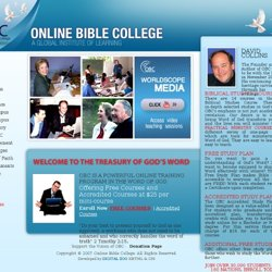 Online Bible College - Welcome to the treasury of god's word
