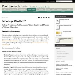 Pew Research Report: Is College Worth It?