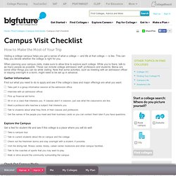 Find Colleges - Campus Visit Checklist