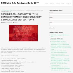 CHAUDHARY RANBIR SINGH UNIVERSITY B.ED COLLEGES LIST 2017 - 2019