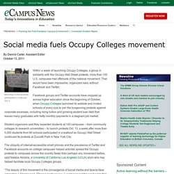 Social media fuels Occupy Colleges movement