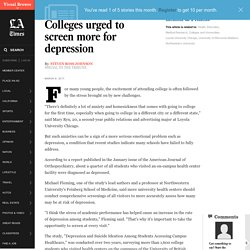 Colleges urged to screen more for depression