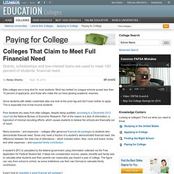 Colleges That Claim to Meet Full Financial Need
