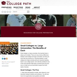 Small Colleges vs. Large Universities: The Benefits of Each