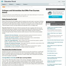 Colleges and Universities that Offer Free Courses Online