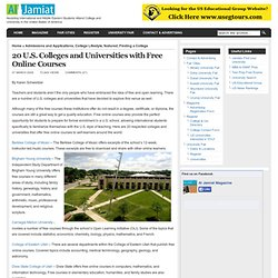 20 U.S. Colleges and Universities with Free Online Courses | Al Jamiat Magazine