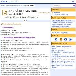 EMC 6ème : DEVENIR COLLEGIEN- Odyssée: Histoire Géographie Éducation civique
