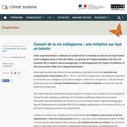 Climat scolaire - Conseil de la vie collégienne : une initiative sur tout un bassin