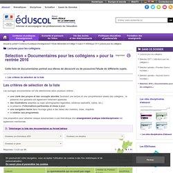 Lectures pour les collégiens - Sélection 2016 « Documentaires pour les collégiens »
