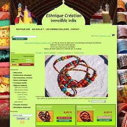 Colliers perles bois - Ethnique Creation
