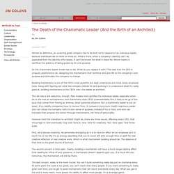 Articles - The Death of the Charismatic Leader