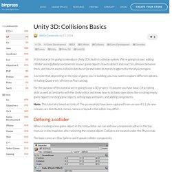 Unity 3D: Collisions Basics - Tutorial - Binpress