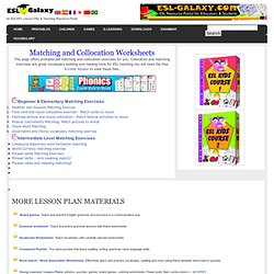 ESL Matching and Collocation Worksheets