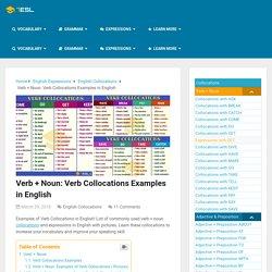 Verb + Noun: Verb Collocations Examples In English