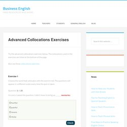 Advanced Collocations Exercises - Business English