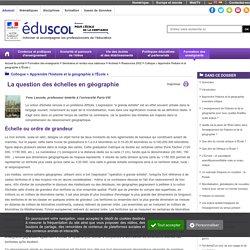Colloque « Apprendre l'histoire et la géographie à l'École » - La question des échelles en géographie