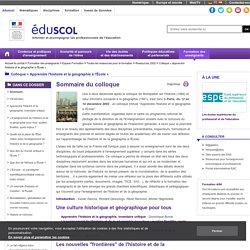 Colloque « Apprendre l'histoire et la géographie à l'École » - Sommaire