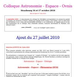 Colloque astronomie-espace-ovnis, Strasbourg, octobre 2010