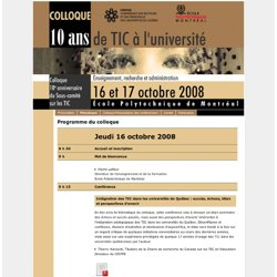 Colloque CREPUQ SCTIC