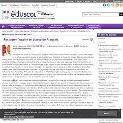 Colloque « Didactique de l'oral » - Restaurer l'oralité en classe de Français