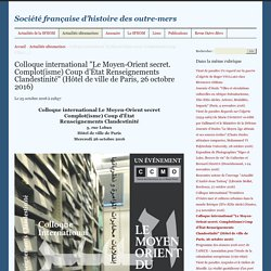 "Colloque international ""Le Moyen-Orient secret. Complot(isme) Coup d'État"