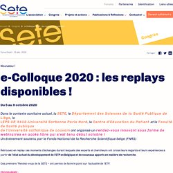 e-Colloque 2020 : les replays disponibles ! SETE, janvier 2021