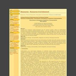 Ethno Web - Colloque Sources et Ressources pour les Sciences Sociales