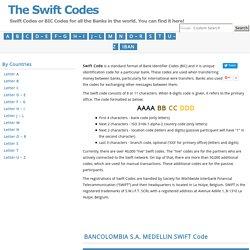 SWIFT Code - COLOCOBM - BANCOLOMBIA S.A., MEDELLIN