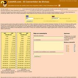 Convierte entre Peso Argentino (ARS) y Peso Colombiano (COP): Calculadora de tarifas de cambio de divisas