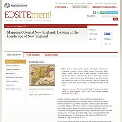 Mapping Colonial New England: Looking at the Landscape of New England